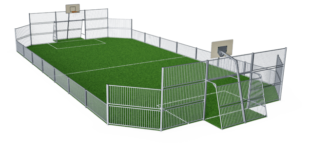 MUGA, 12x24 meter, Low 1m, Steel