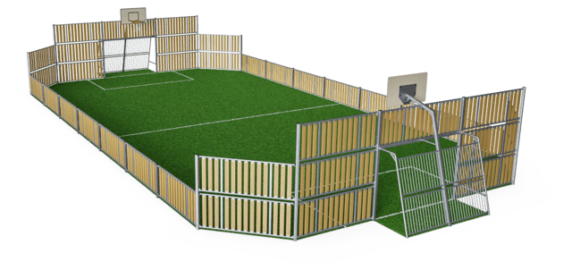 MUGA, 12x24 meter, Low 1m, Wood Look
