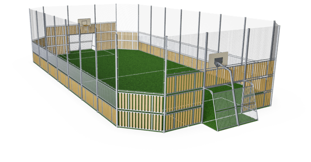 MUGA, 12x24 meter, High 5m, Wood Look