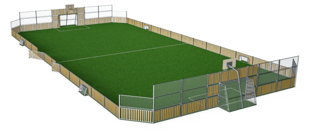MUGA, 20x39 meter, Low 1m, Wood Look