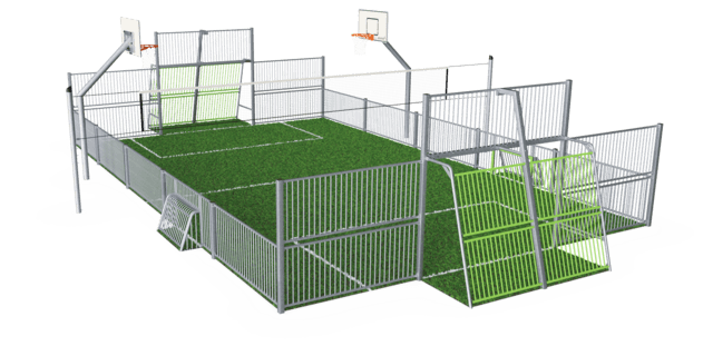 MUGA, 11x15 meter, Low 1m, Steel