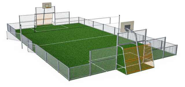 MUGA, 13x21m, Low 1m, Steel