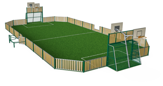 MUGA, 13x26 meter, Low 1m, Wood Look