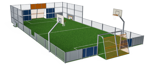 MUGA, 11x21m, Low 1m/3m, Steel