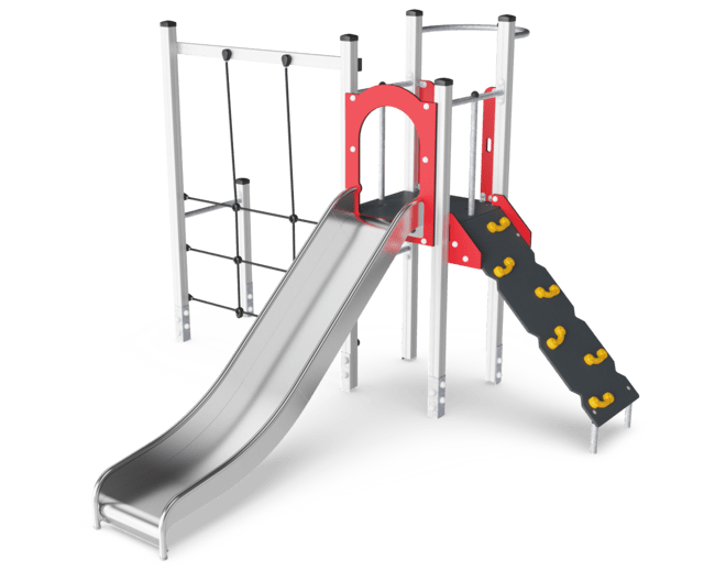 Play tower with climbing net, wood post & plastic slide