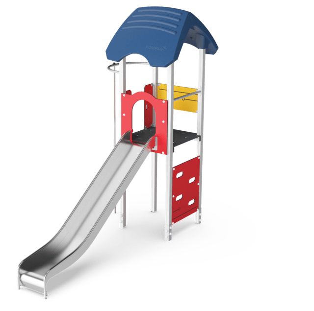 Play tower with slide, wood posts & plastic slide