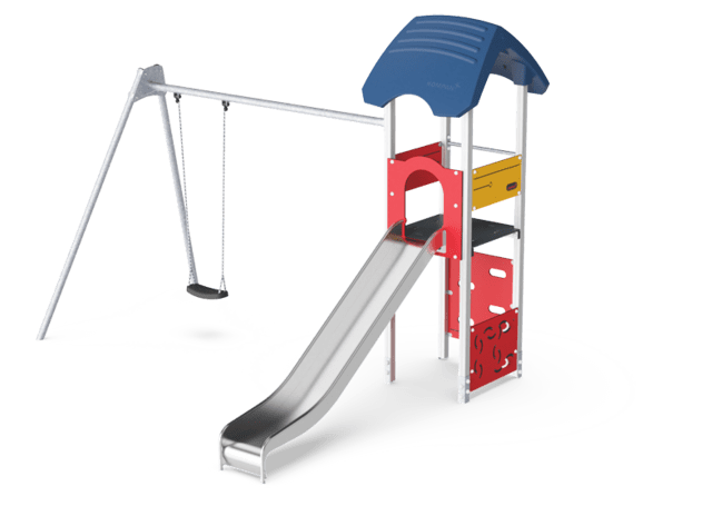 Play tower with swing 2,5, wood posts & plastic slide