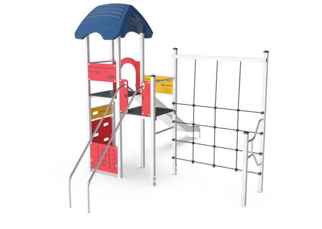 Playtower w/ banister bars, wood posts & plastic slide