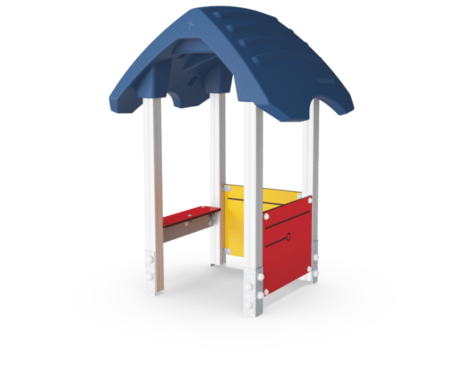 Playhouse with desk, Wood post