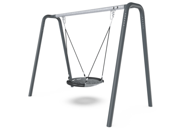 Portal swing height 2,5 meters with Birds Nest shell Seat. Anthracite legs & connector. Galvanized crossbeam