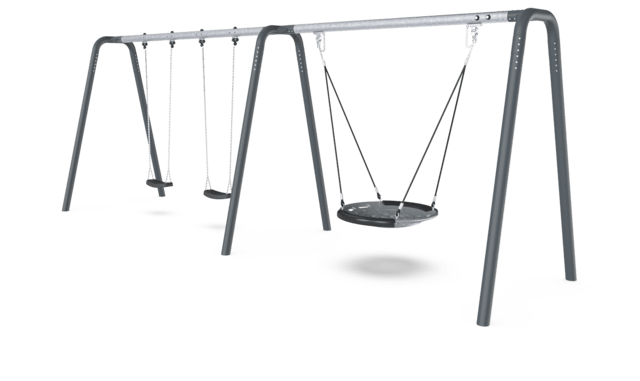 2 Bay Portal Swing 2,5 meters with Birds Nest Shell Seat. Anthracite legs & connector. Galvanized crossbeam