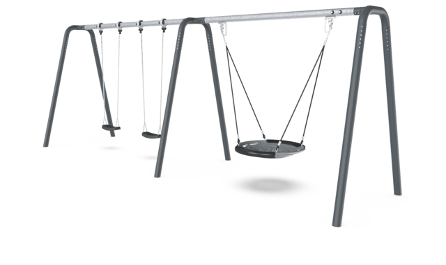 2 Bay Portal Swing 2,5 meters with Birds Nest Shell Seat. Anthracite legs & connector. Galvanized crossbeam. Antiwrap
