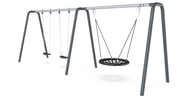 2 Bay Portal Swing 2,5 meters with Birds Nest Rope Seat. Anthracite legs & connector. Galvanized crossbeam.