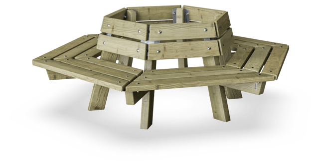 Sixsided Tree Bench 800 - Pine Wood