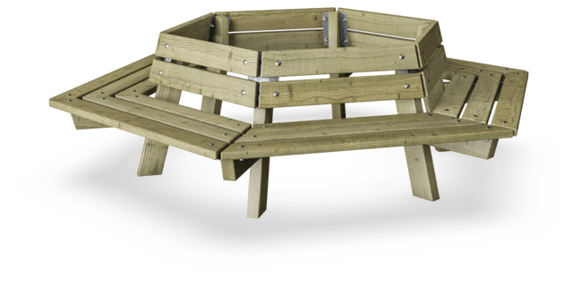 Sixsided Tree Bench 1200 - Pine Wood