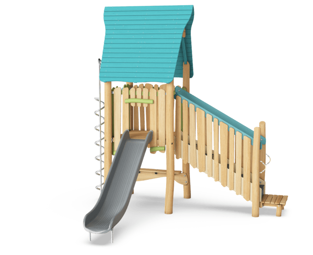 Play tower with slide & desk