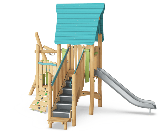 Multi Deck Play Tower with Monkey Bar & Desk