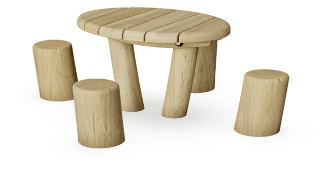 Kids Table with 4 Sitting Poles