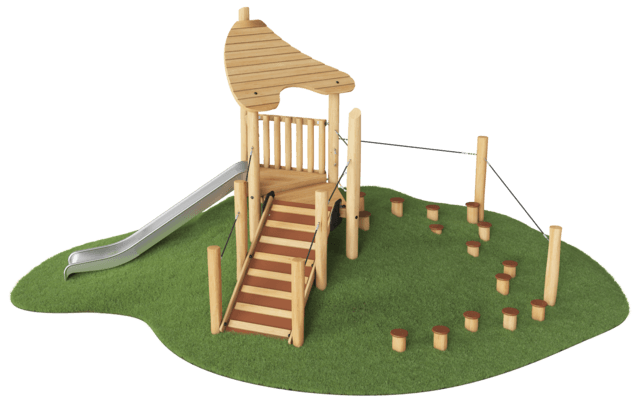 Play hut with stairway