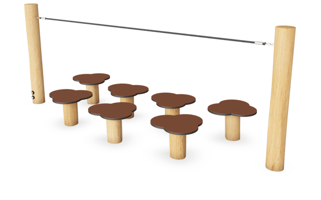 Waterlily Balance posts with rope