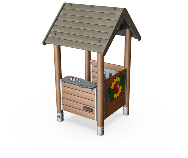 Playhouse with floor, wood posts