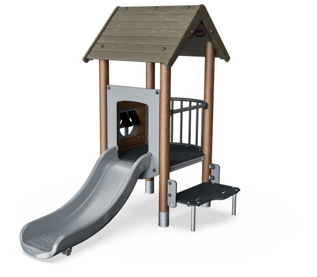 Play tower with balcony, wood posts, plastic slide