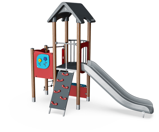 Multi deck play tower, wood posts, plastic slide