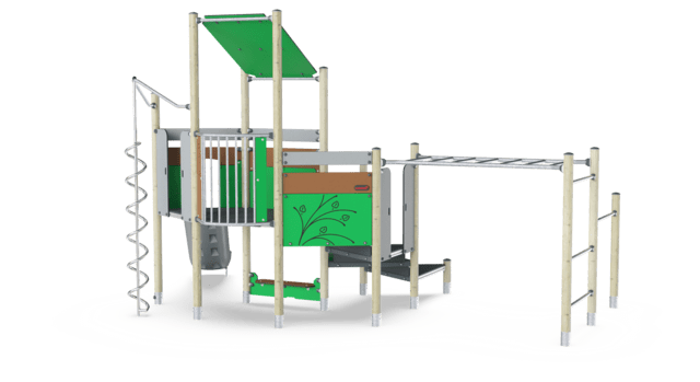 Play Tower with Overhead Ladder, Physical, Plastic Slide ADA