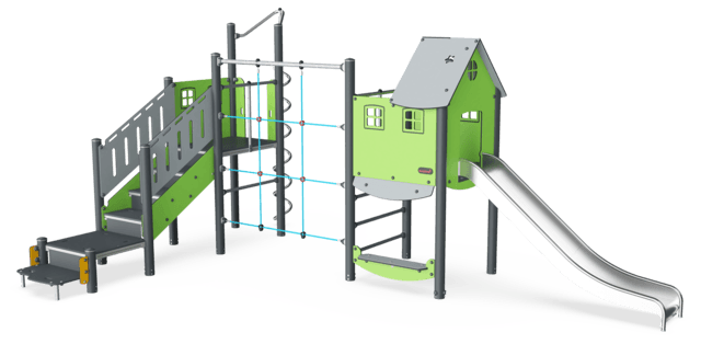 Double Tower, Physical, ADA Stairs, Plastic Slide