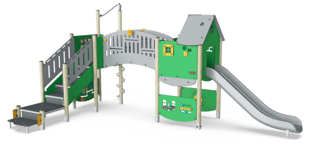 Double Tower, Cognitive & Creative, ADA Stairs, Plastic Slide