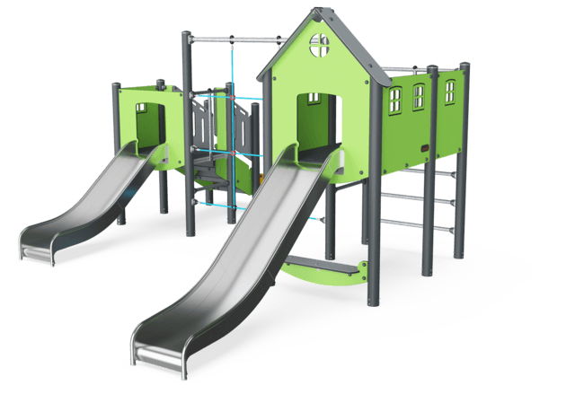 Double Tower, Basic, ADA Stairs, Plastic Slide