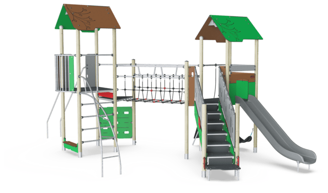 Double Tower with Jacob's Ladder, Physical, Plastic Slide ADA