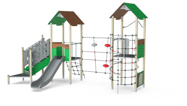 Double Tower with Climbing Net, Physical