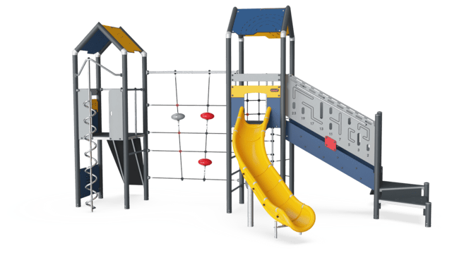 Triple Tower with Climbing Net, Physical, Plastic Slide ADA