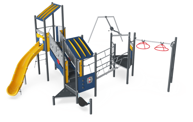 Triple Tower with Track Ride, Physical, Plastic Slide ADA