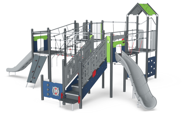 Four Tower with Banister Bars, Physical, Plastic Slides ADA