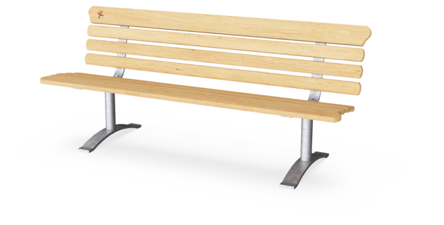 Park Bench with Backrest