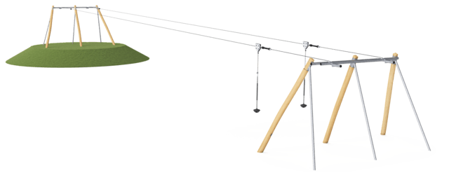Double Cableway, for sloping ground