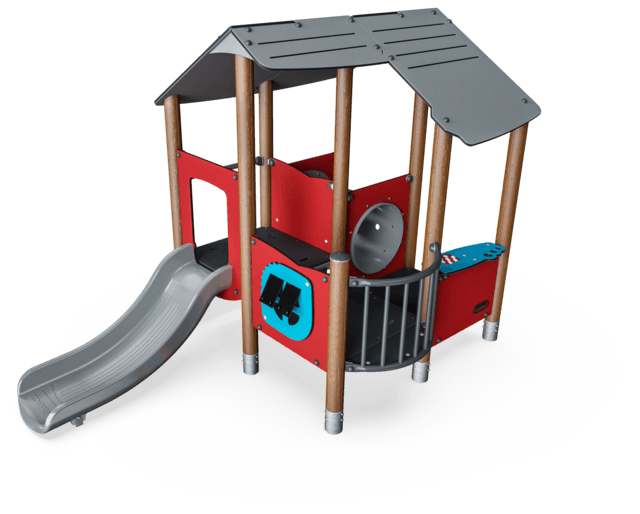 Multi Deck Playhouse with Roof and Tunnel