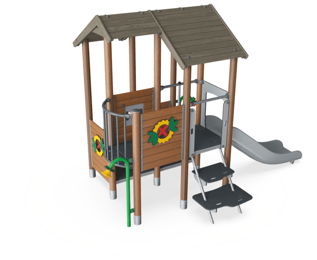Multi Deck Playhouse with Roof and Balcony