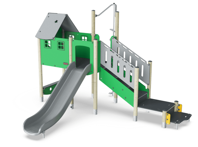 Play Tower with Stairs and Climbing Pole
