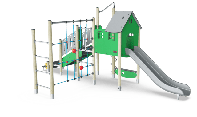 Play Tower with ADA Stairs, Climbing Net & Pole