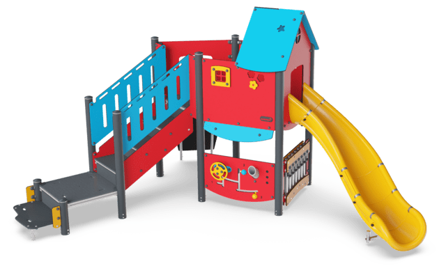Large Play Tower with curved Slide